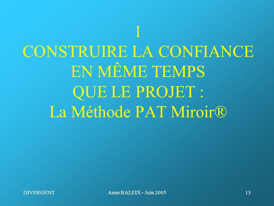 1 CONSTRUIRE LA CONFIANCE EN MÊME TEMPS QUE LE PROJET : La Méthode PAT Miroir®