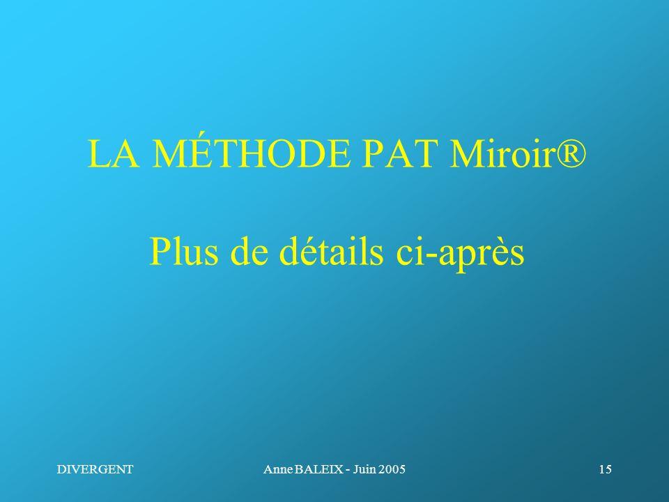 LA MÉTHODE PAT Miroir® Plus de détails ci-après