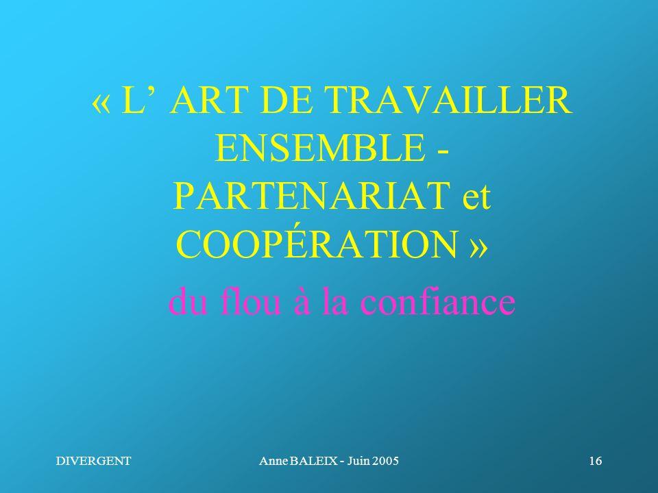 « L' ART DE TRAVAILLER ENSEMBLE - PARTENARIAT et COOPÉRATION » du flou à la confiance