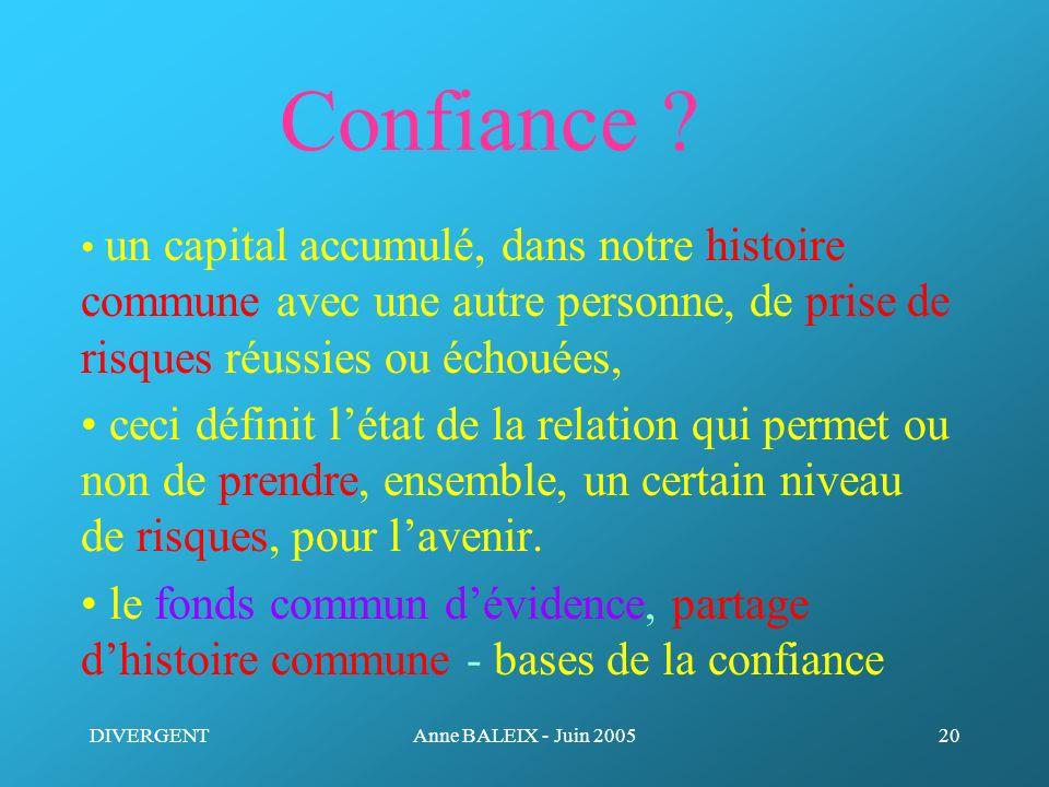Confiance • un capital accumulé, dans notre histoire commune avec une autre personne, de prise de risques réussies ou échouées,