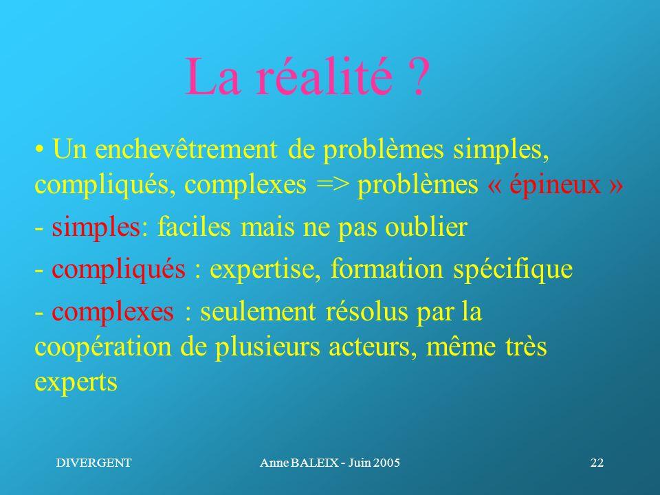 La réalité • Un enchevêtrement de problèmes simples, compliqués, complexes => problèmes « épineux »