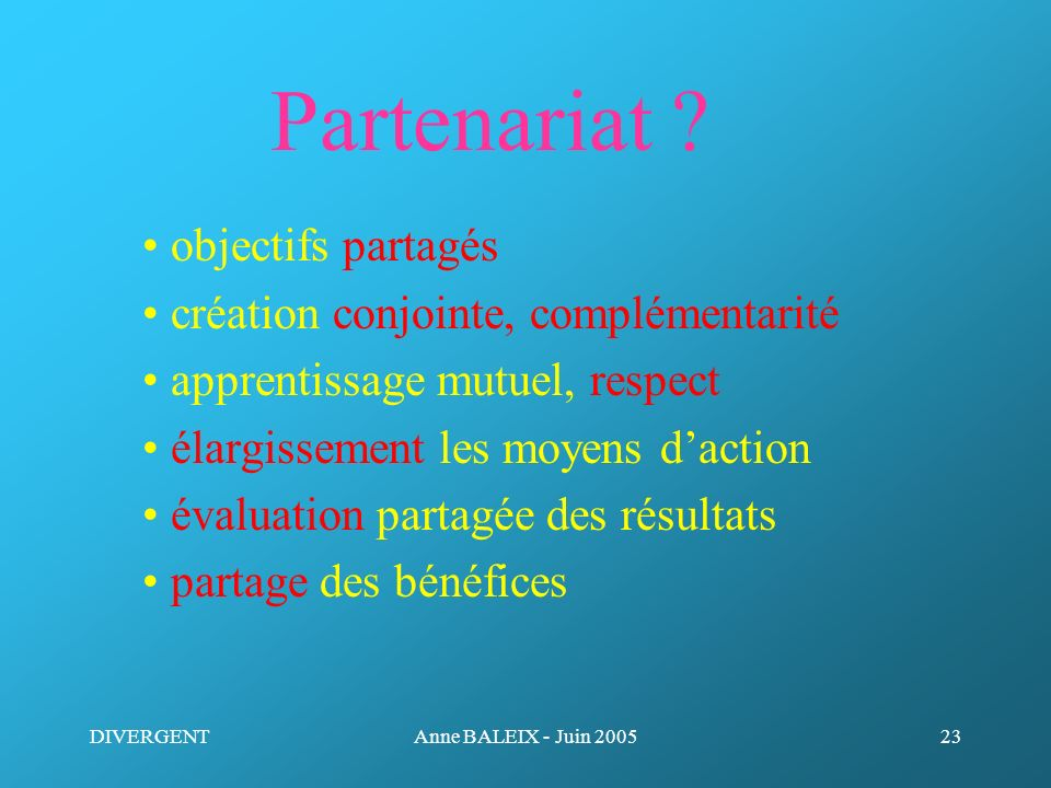Partenariat • objectifs partagés