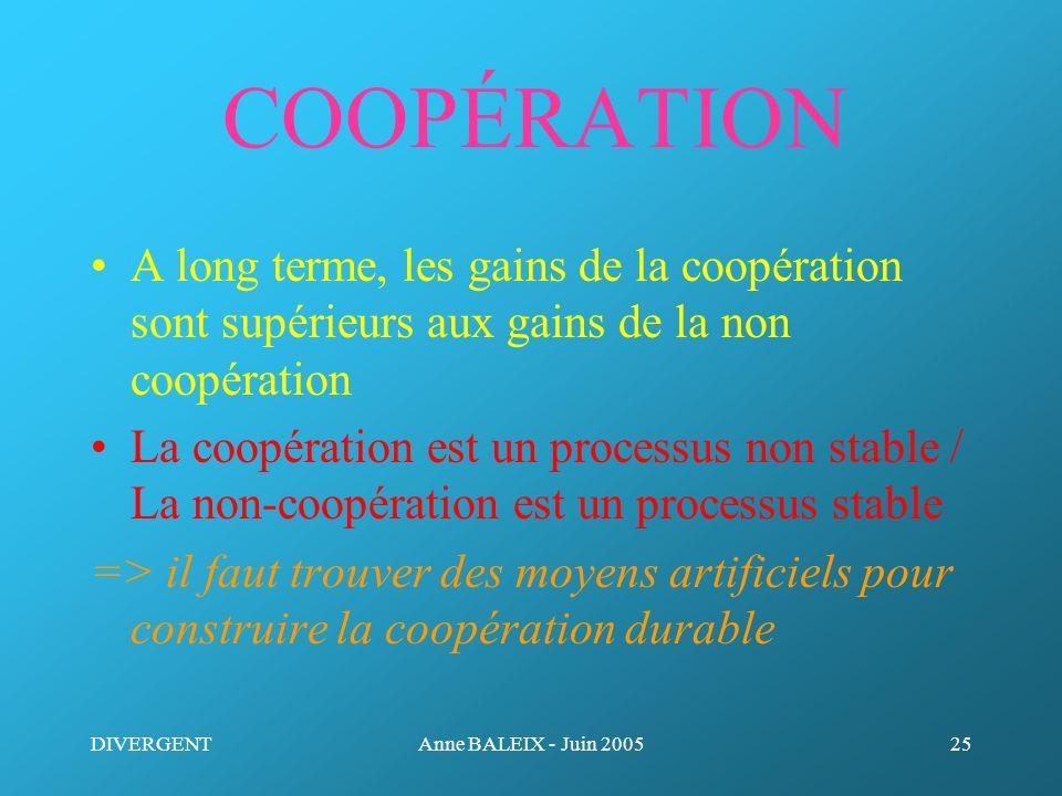 COOPÉRATION A long terme, les gains de la coopération sont supérieurs aux gains de la non coopération.