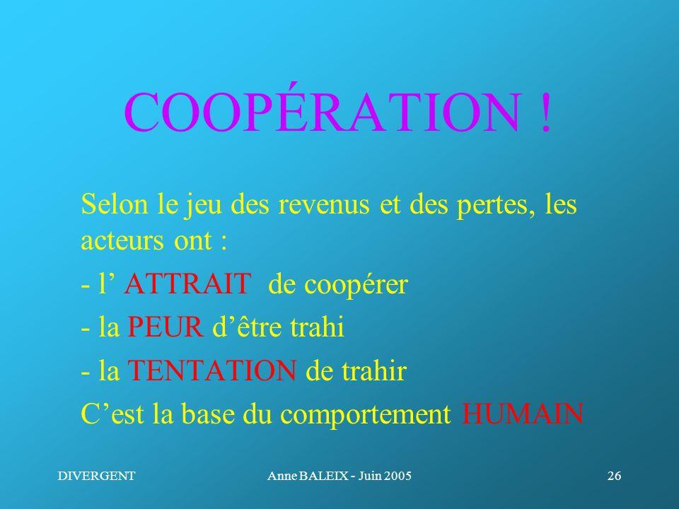 COOPÉRATION ! Selon le jeu des revenus et des pertes, les acteurs ont : - l' ATTRAIT de coopérer.