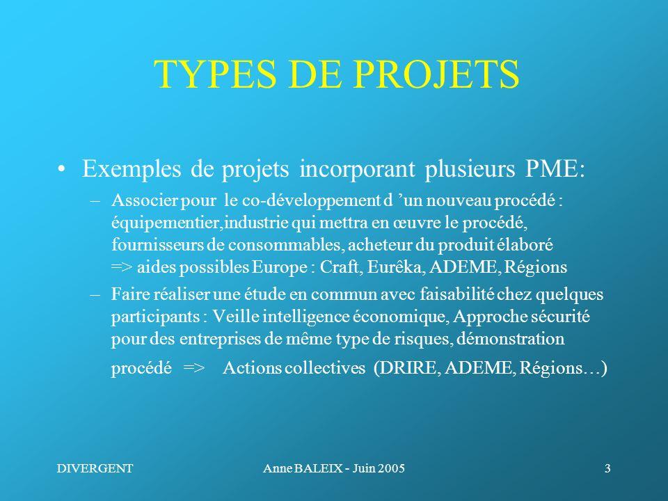 TYPES DE PROJETS Exemples de projets incorporant plusieurs PME: