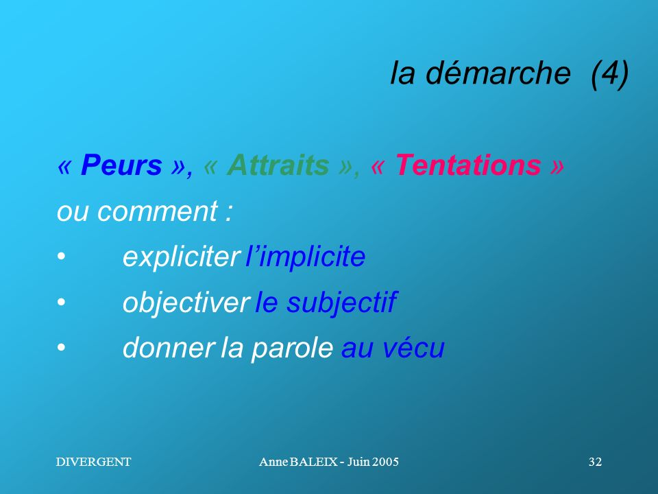 la démarche (4) « Peurs », « Attraits », « Tentations » ou comment :