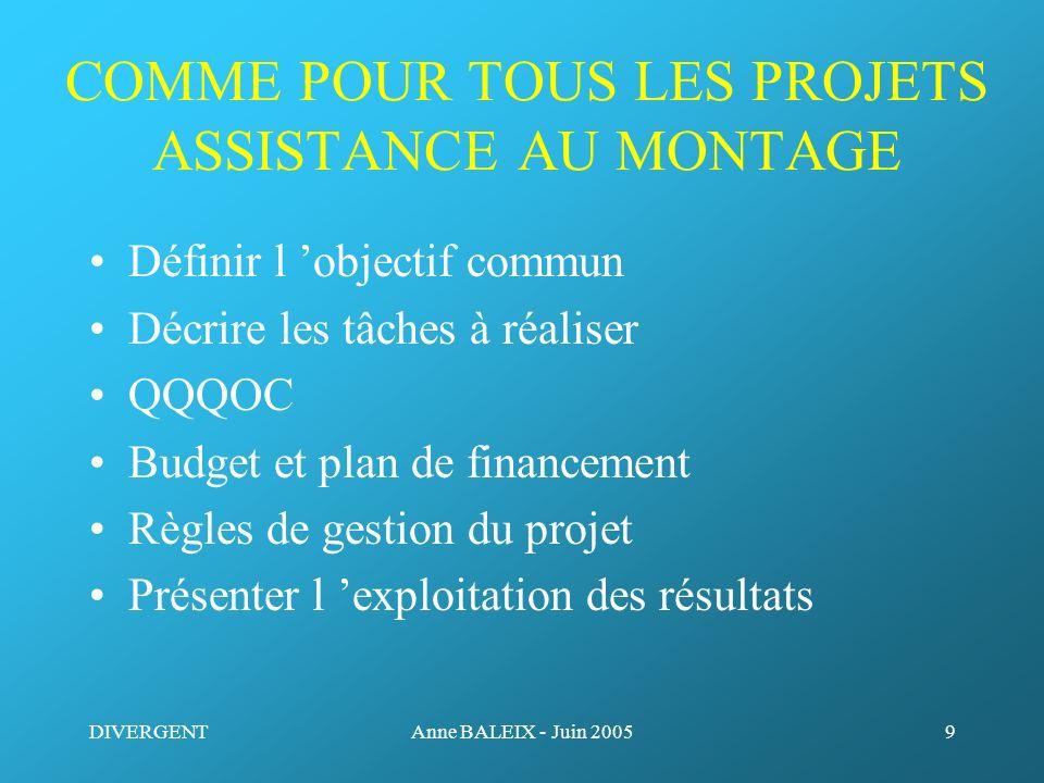 COMME POUR TOUS LES PROJETS ASSISTANCE AU MONTAGE