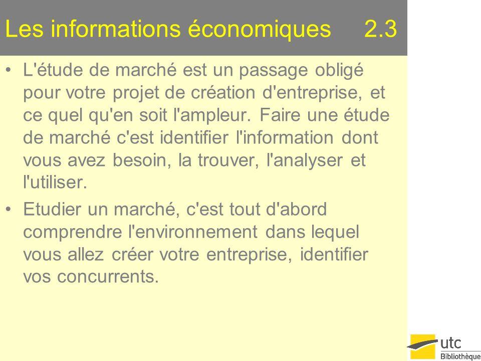 Les informations économiques 2.3