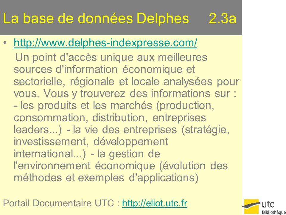 La base de données Delphes 2.3a