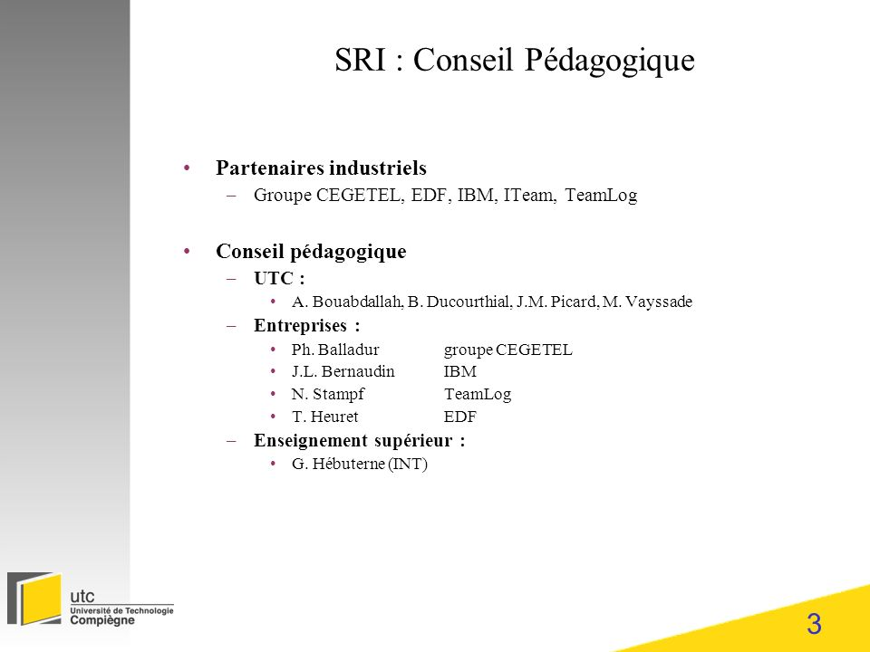 SRI : Conseil Pédagogique