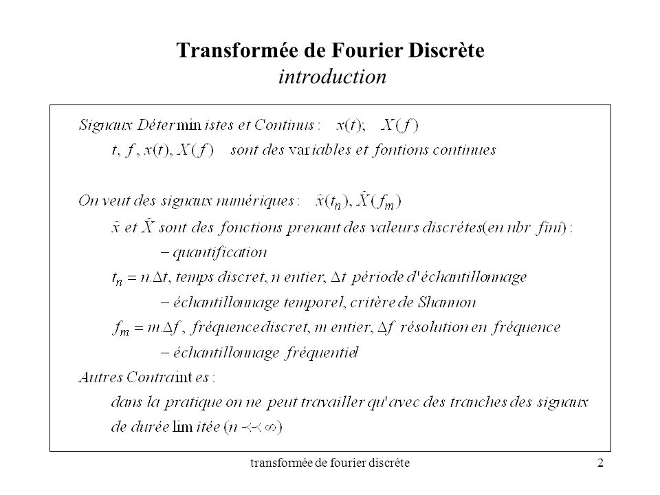 Transformée de Fourier Discrète introduction