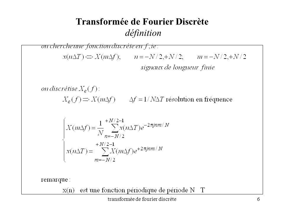 Transformée de Fourier Discrète définition