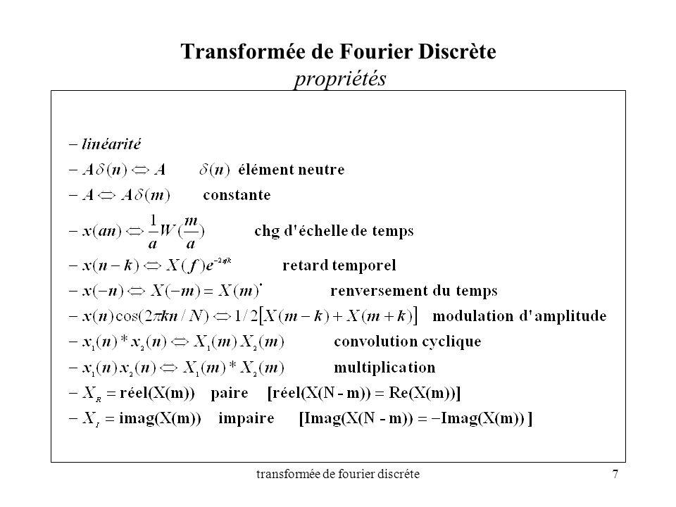 Transformée de Fourier Discrète propriétés