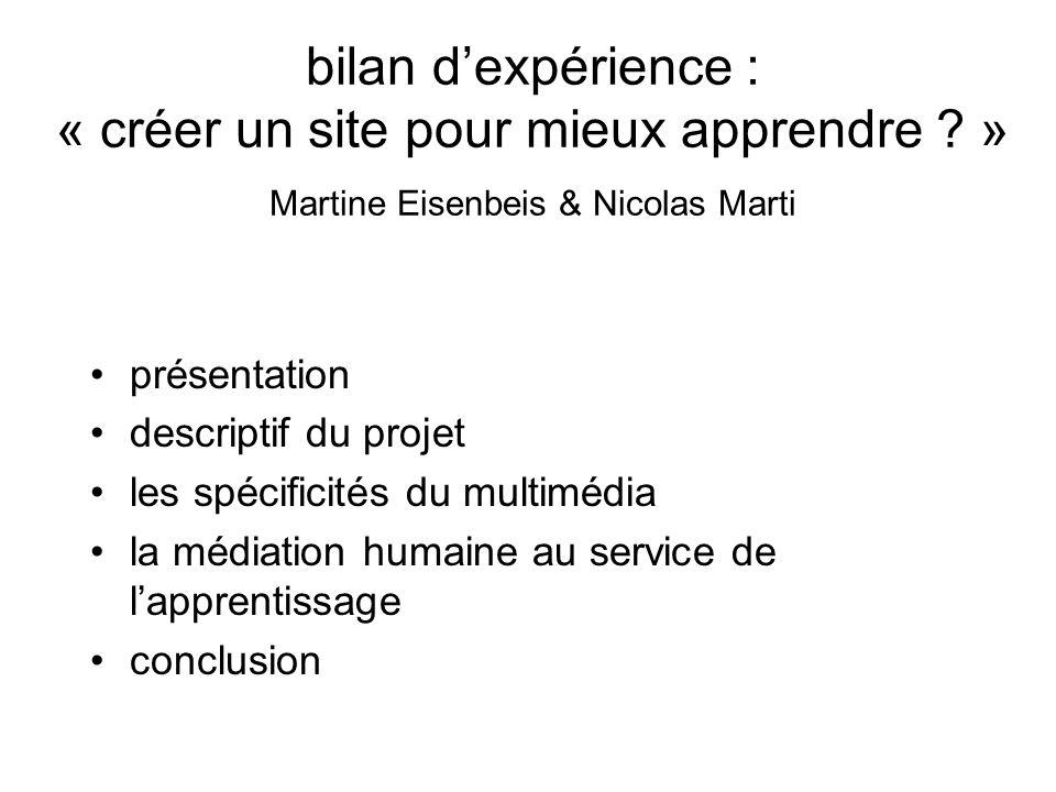bilan d'expérience : « créer un site pour mieux apprendre