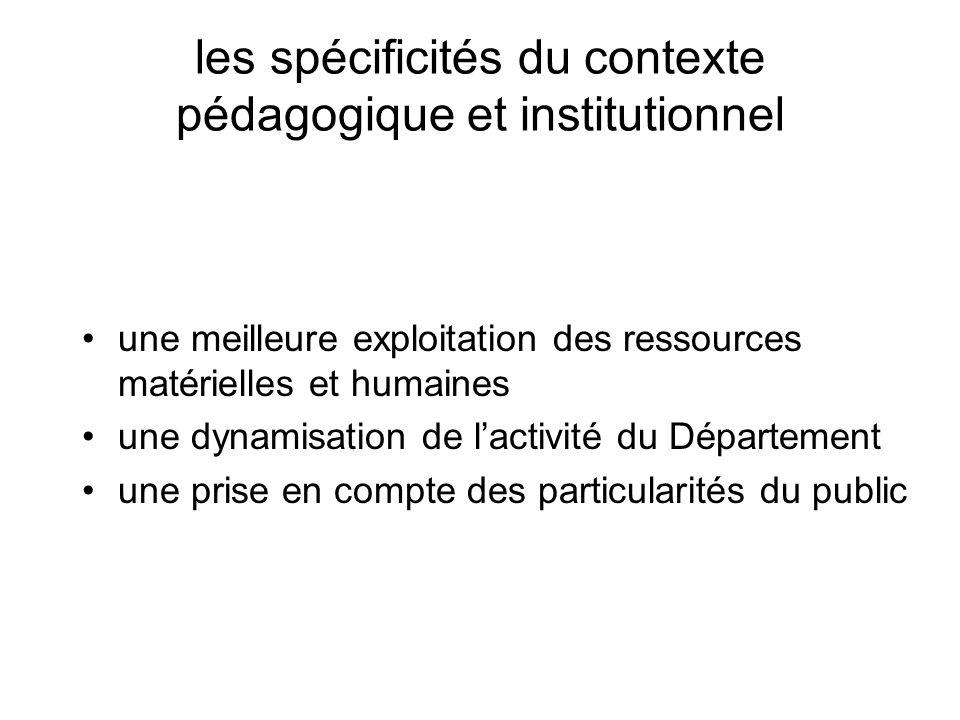 les spécificités du contexte pédagogique et institutionnel