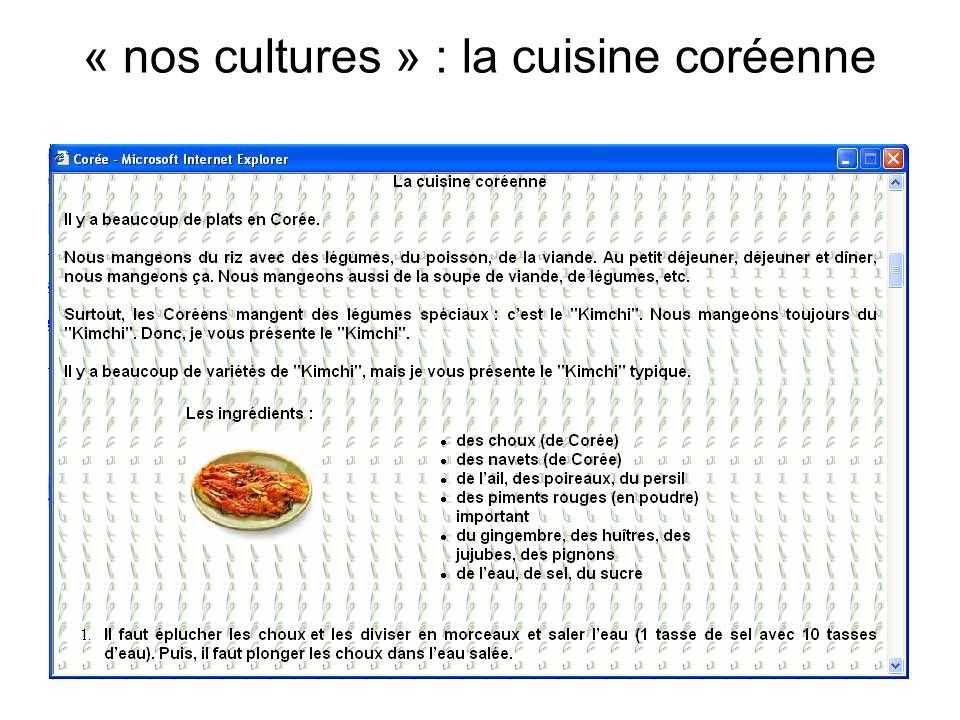 « nos cultures » : la cuisine coréenne