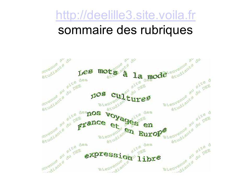 http://deelille3.site.voila.fr sommaire des rubriques