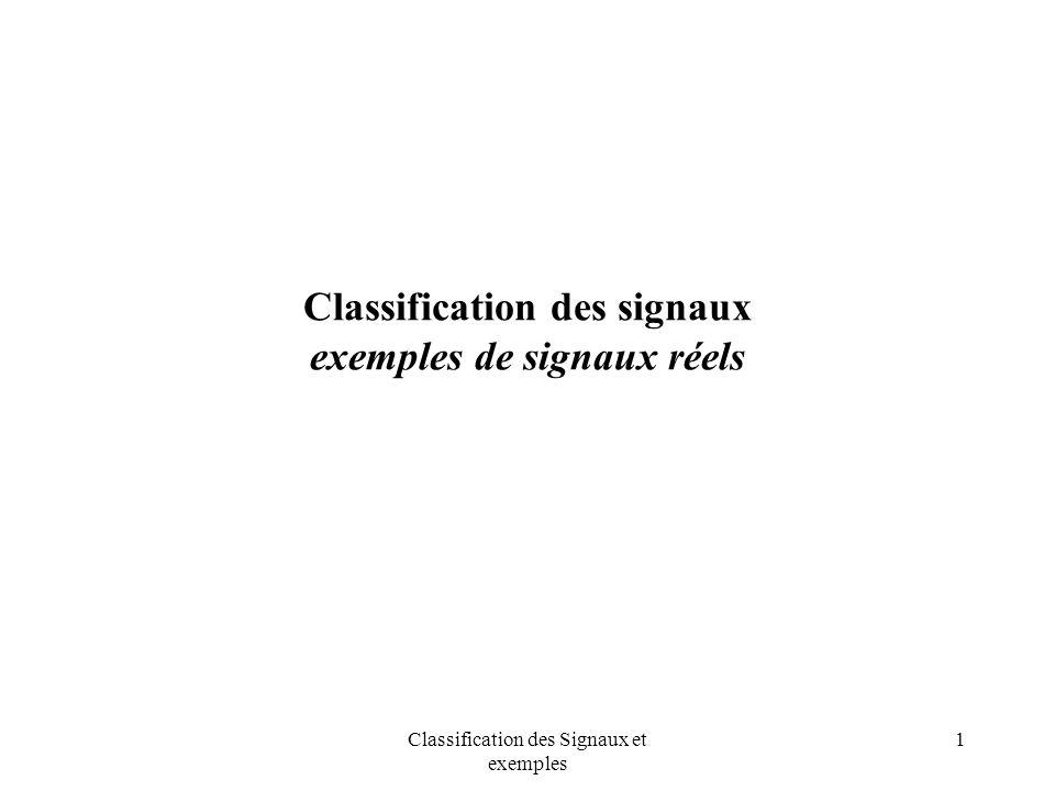 Classification des signaux exemples de signaux réels