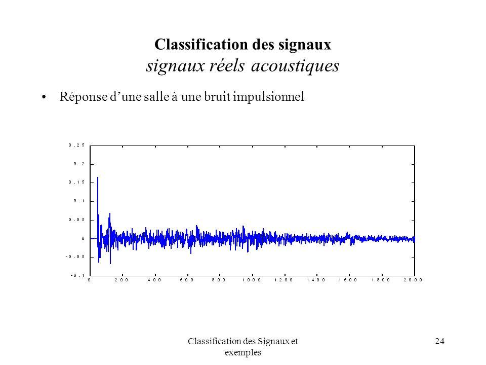 Classification des signaux signaux réels acoustiques