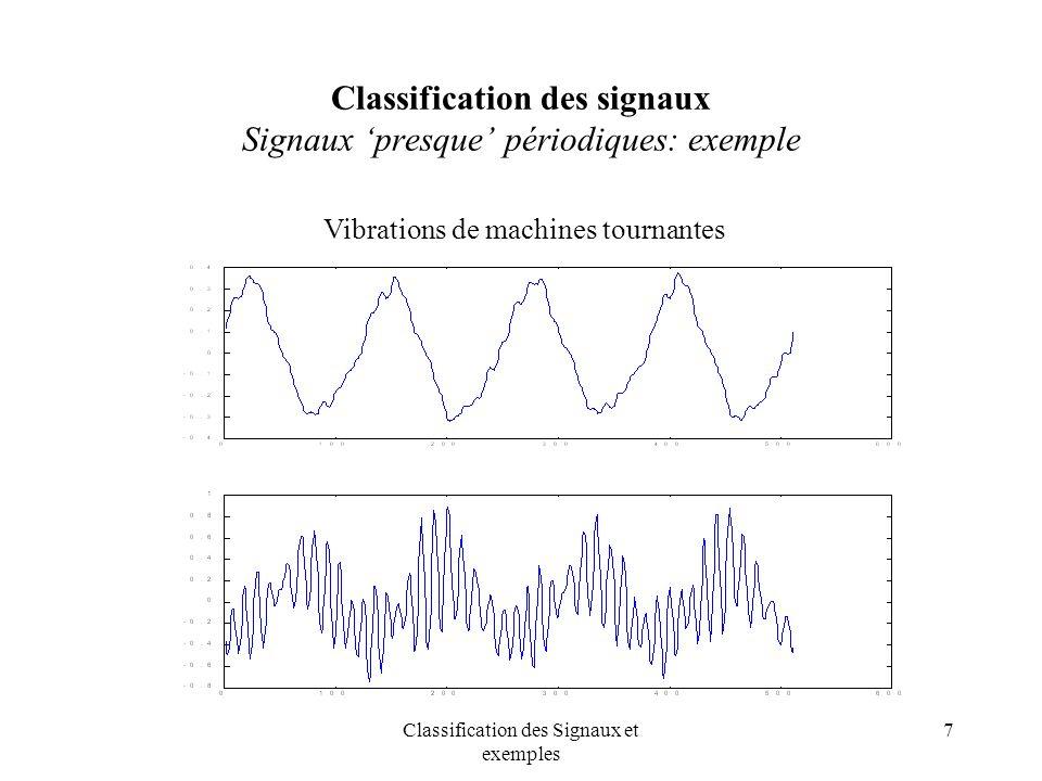 Classification des signaux Signaux 'presque' périodiques: exemple