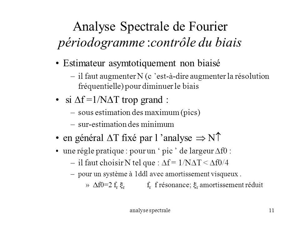 Analyse Spectrale de Fourier périodogramme :contrôle du biais