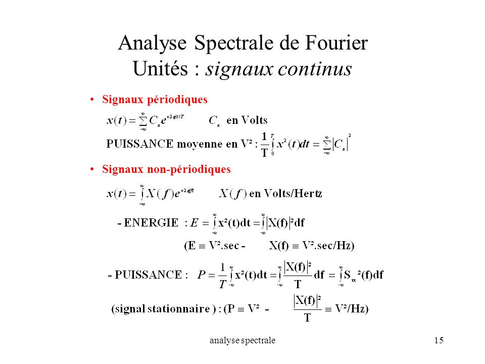 Analyse Spectrale de Fourier Unités : signaux continus