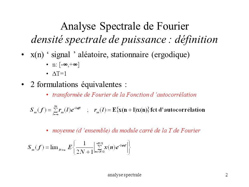 Analyse Spectrale de Fourier densité spectrale de puissance : définition