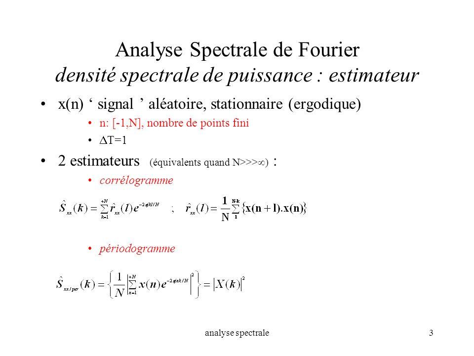 Analyse Spectrale de Fourier densité spectrale de puissance : estimateur