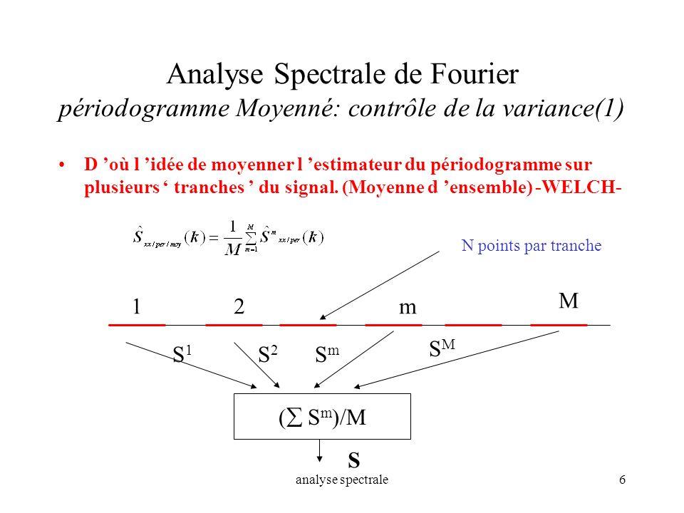Analyse Spectrale de Fourier périodogramme Moyenné: contrôle de la variance(1)