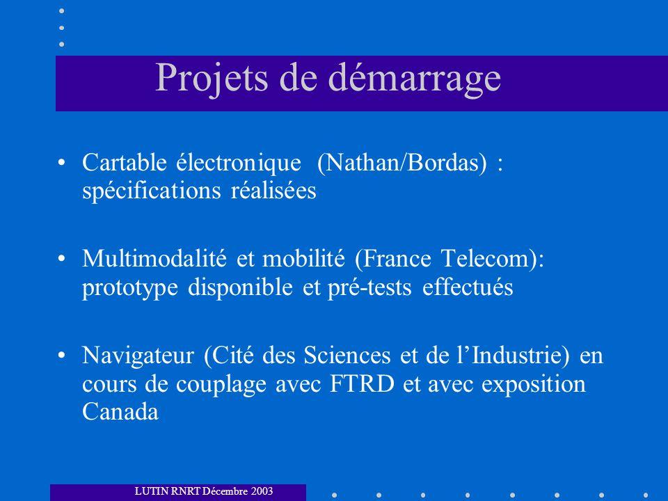 Projets de démarrage Cartable électronique (Nathan/Bordas) : spécifications réalisées.