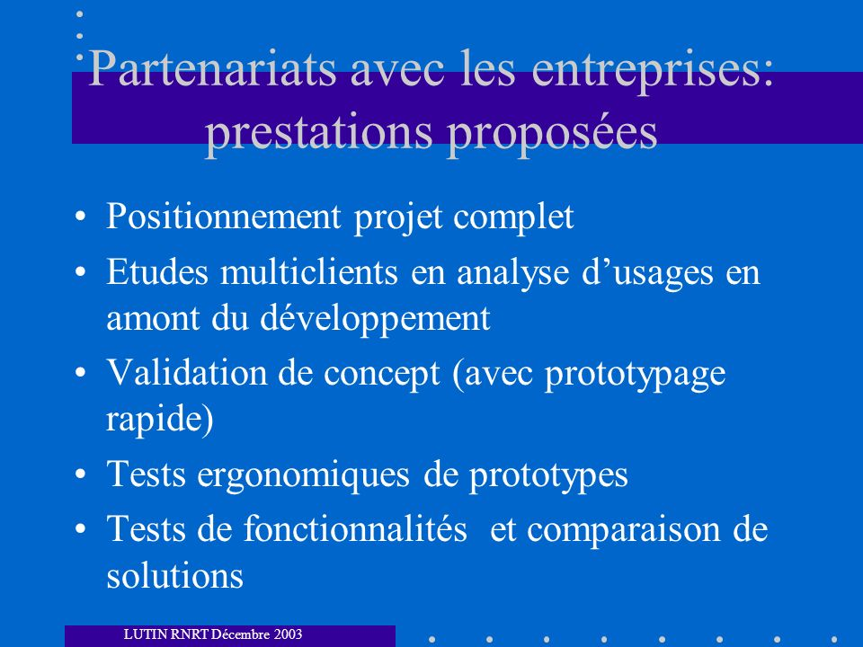 Partenariats avec les entreprises: prestations proposées
