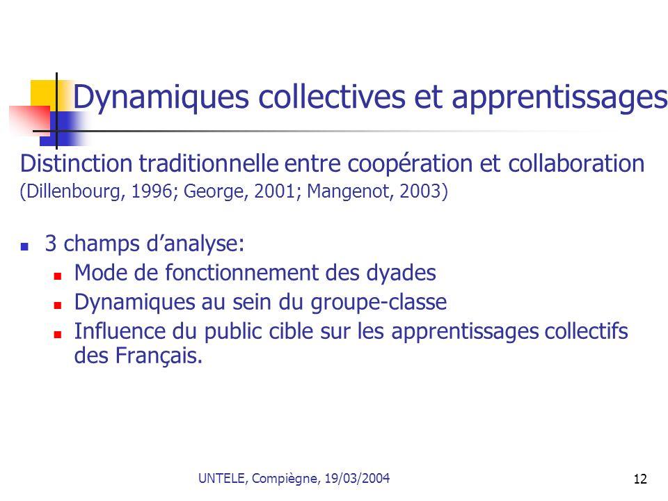 Dynamiques collectives et apprentissages