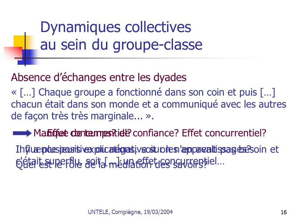 Dynamiques collectives au sein du groupe-classe