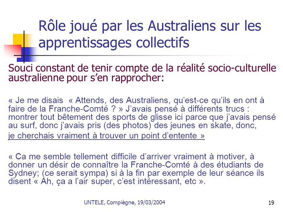 Rôle joué par les Australiens sur les apprentissages collectifs