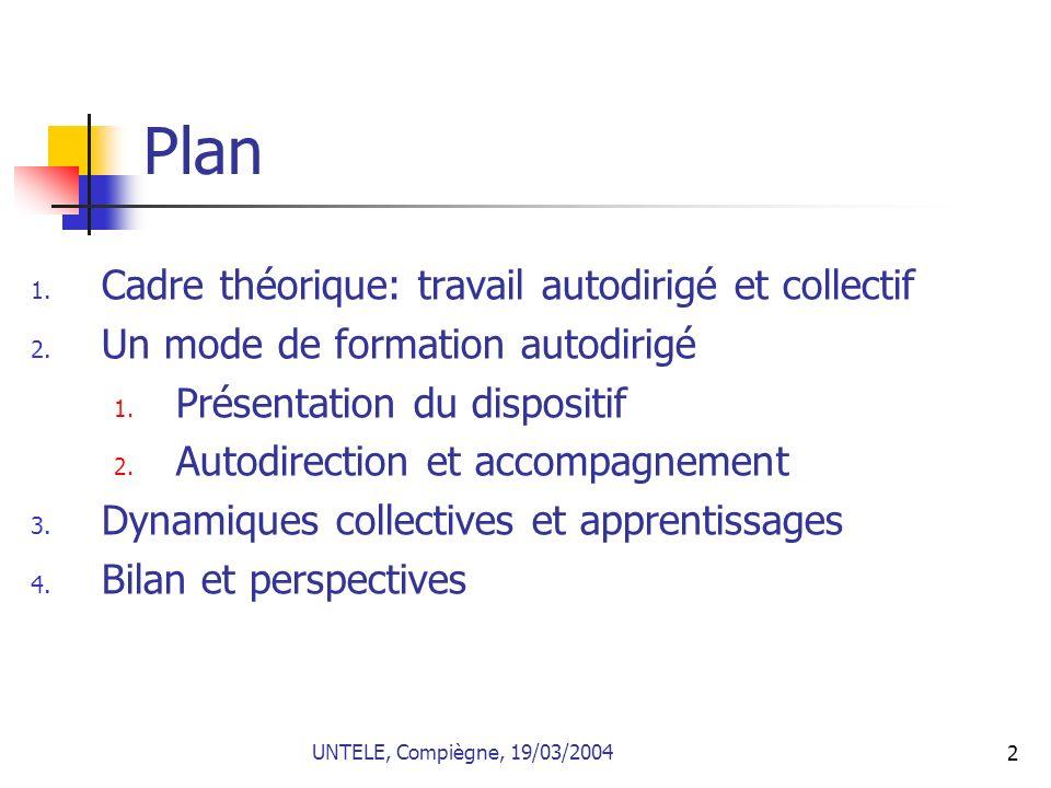 Plan Cadre théorique: travail autodirigé et collectif