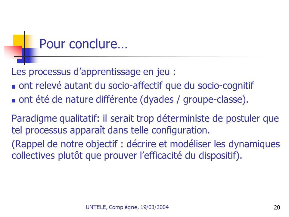 Pour conclure… Les processus d'apprentissage en jeu :