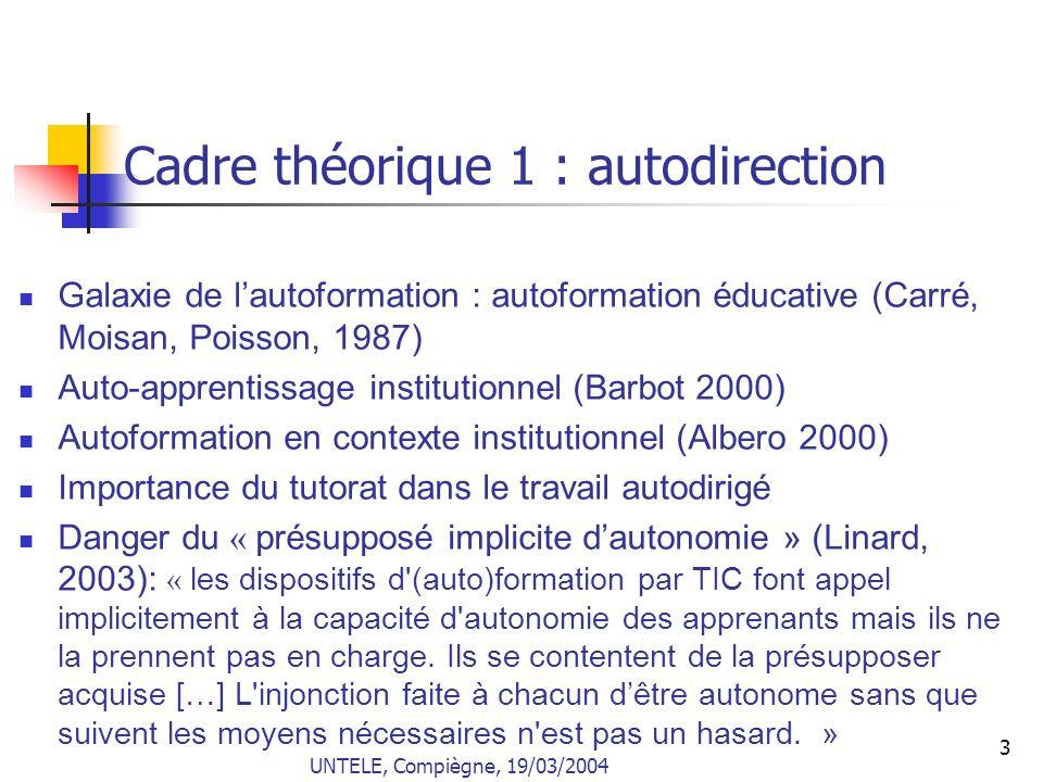 Cadre théorique 1 : autodirection