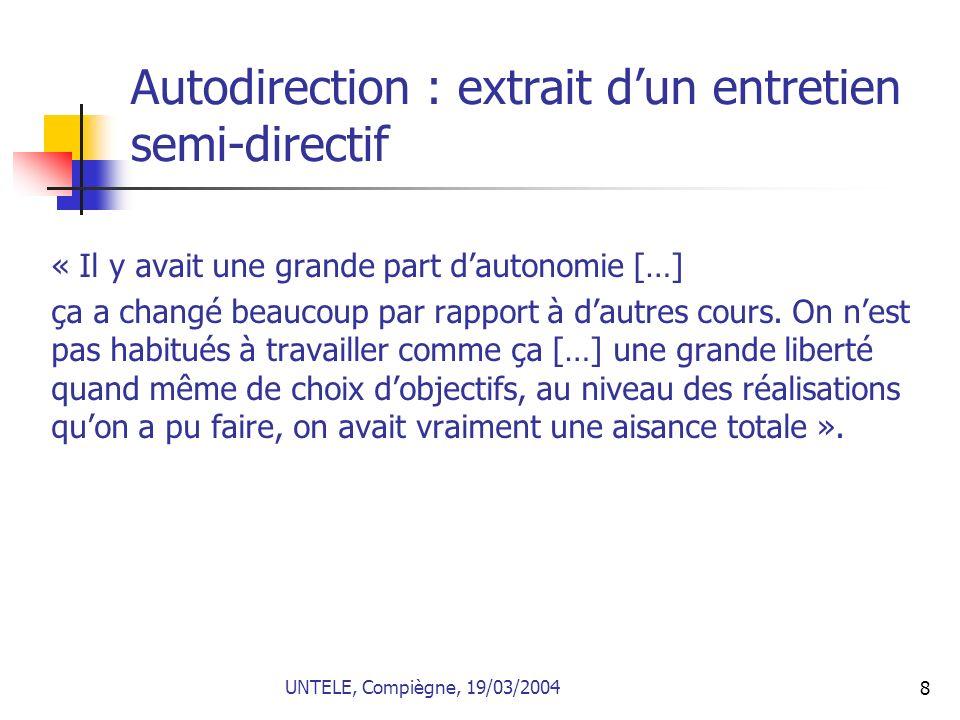 Autodirection : extrait d'un entretien semi-directif