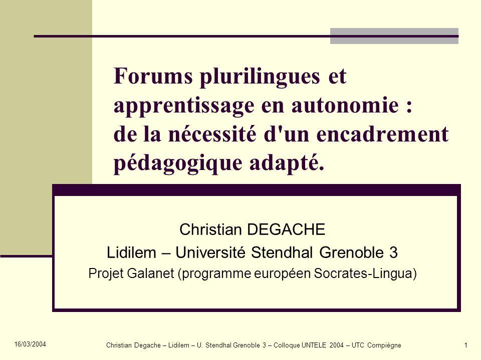 Forums plurilingues et apprentissage en autonomie : de la nécessité d un encadrement pédagogique adapté.