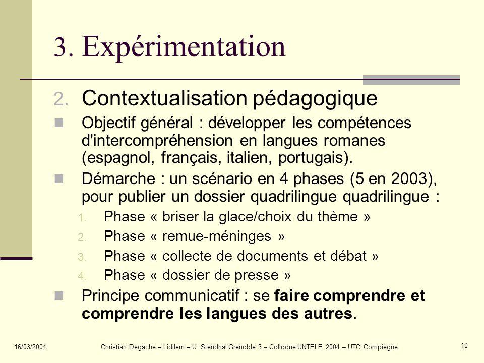 3. Expérimentation Contextualisation pédagogique