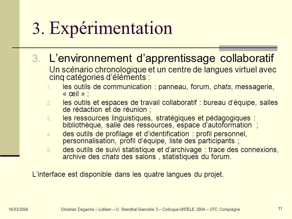 3. Expérimentation L'environnement d'apprentissage collaboratif