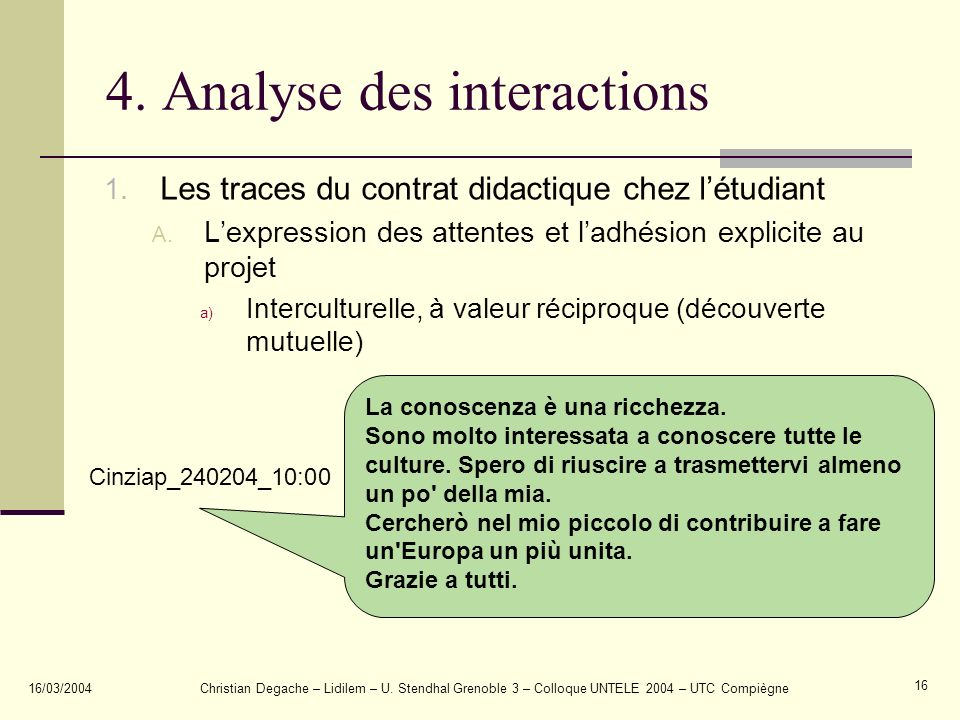 4. Analyse des interactions