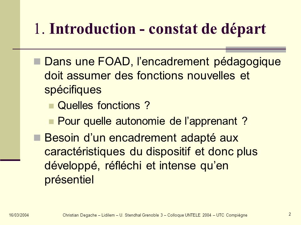 1. Introduction - constat de départ