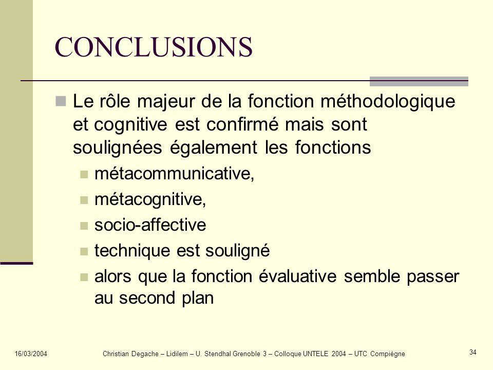 CONCLUSIONS Le rôle majeur de la fonction méthodologique et cognitive est confirmé mais sont soulignées également les fonctions.