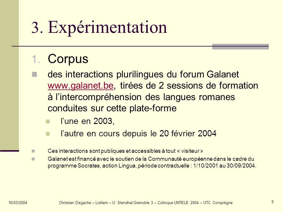 3. Expérimentation Corpus