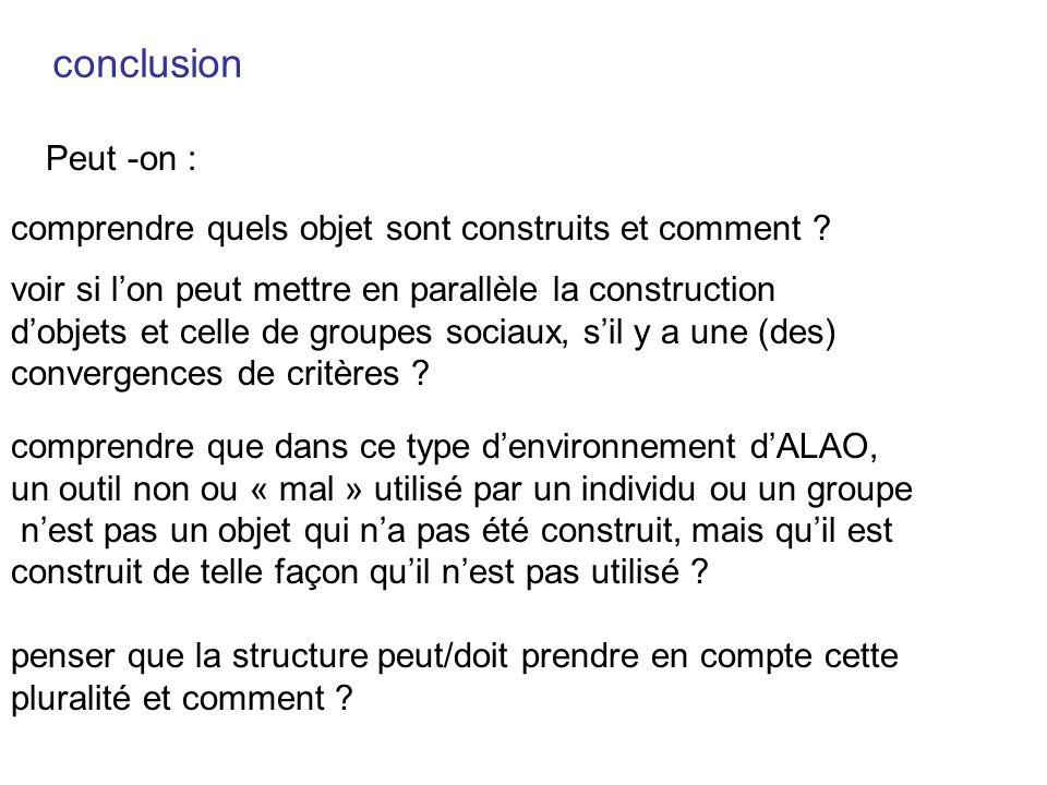 conclusion Peut -on : comprendre quels objet sont construits et comment voir si l'on peut mettre en parallèle la construction.