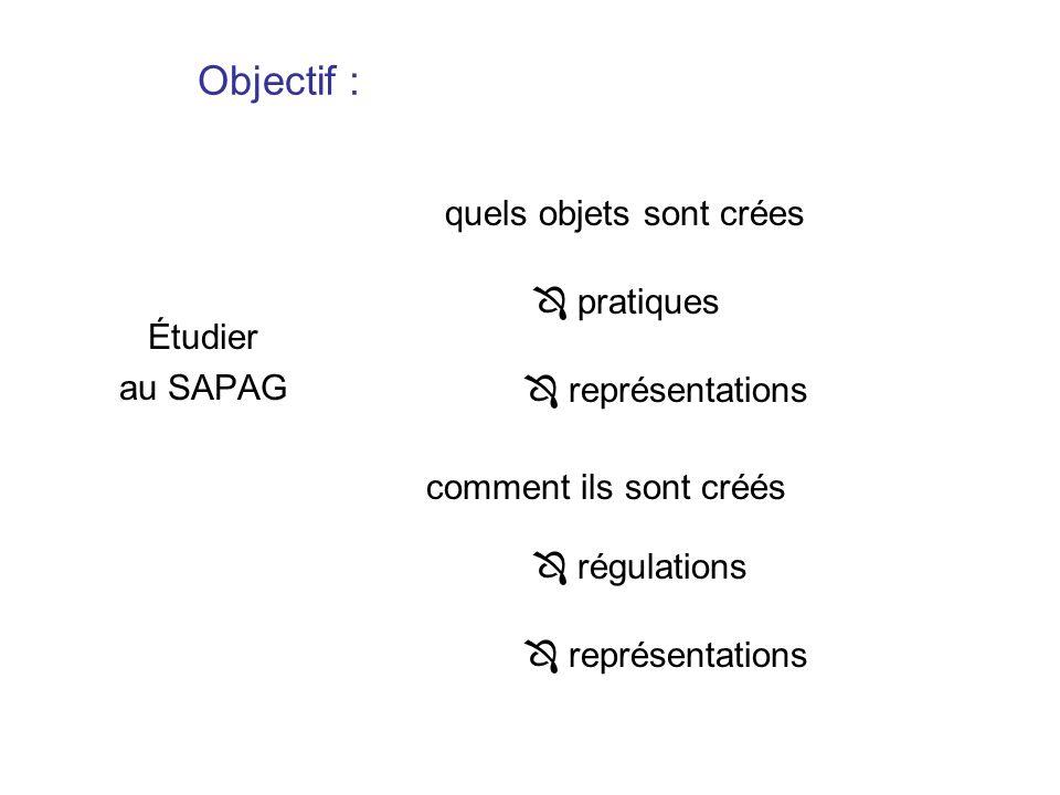Objectif : quels objets sont crées  pratiques Étudier au SAPAG