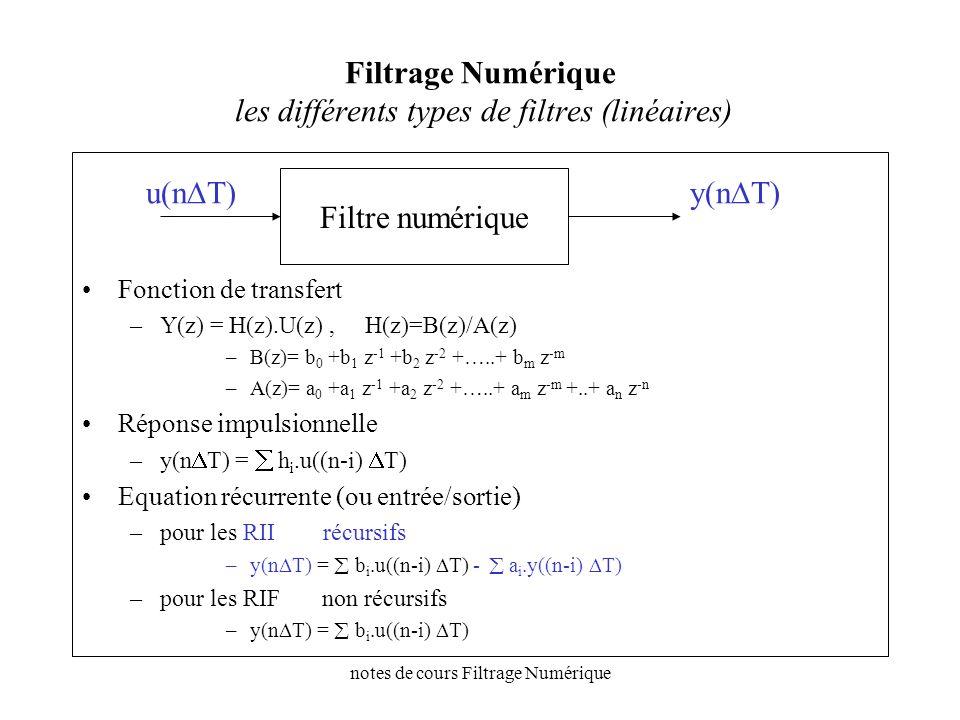 Filtrage Numérique les différents types de filtres (linéaires)