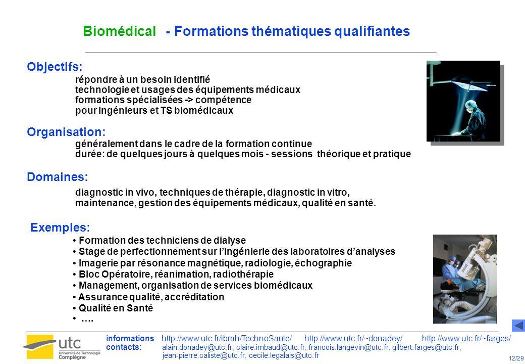 Biomédical - Spécialisation des Ingénieurs Biomédicaux Hospitaliers - IBMH Mastère Spécialisé « Equipements Biomédicaux » 2/2