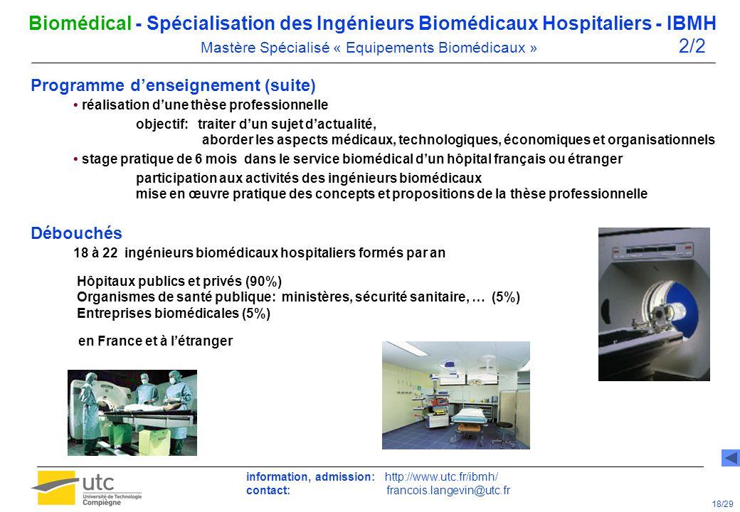 Biomédical - Spécialisation des Ingénieurs Biomédicaux Hospitaliers - IBMH Mastère Spécialisé « Equipements Biomédicaux » 1/2